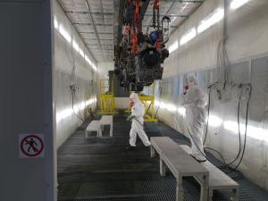 Cabina di verniciatura a liquido pressurizzata