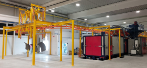 Liquid painting line with automatic power&free overhead conveyor
