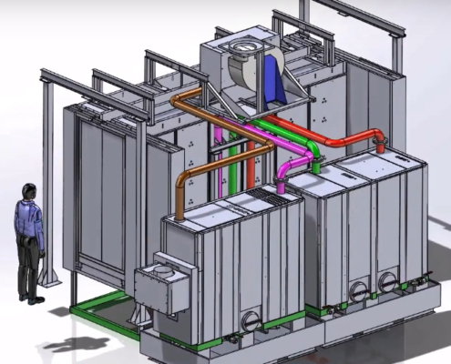 Designing a 4-stage washing tunnel in 3D